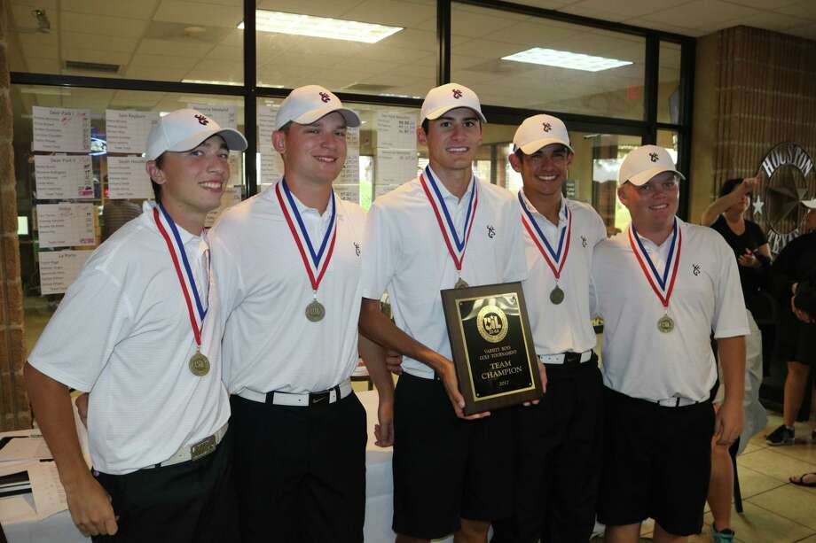 The Deer Park I boys golf team soaks in the moment of being named District 22-6A champions Wednesday, keeping a long-standing streak going. The guys sizzled with a 293. Now it's on to the Region III tourney where they'll join all the other big dogs. Photo: Robert Avery