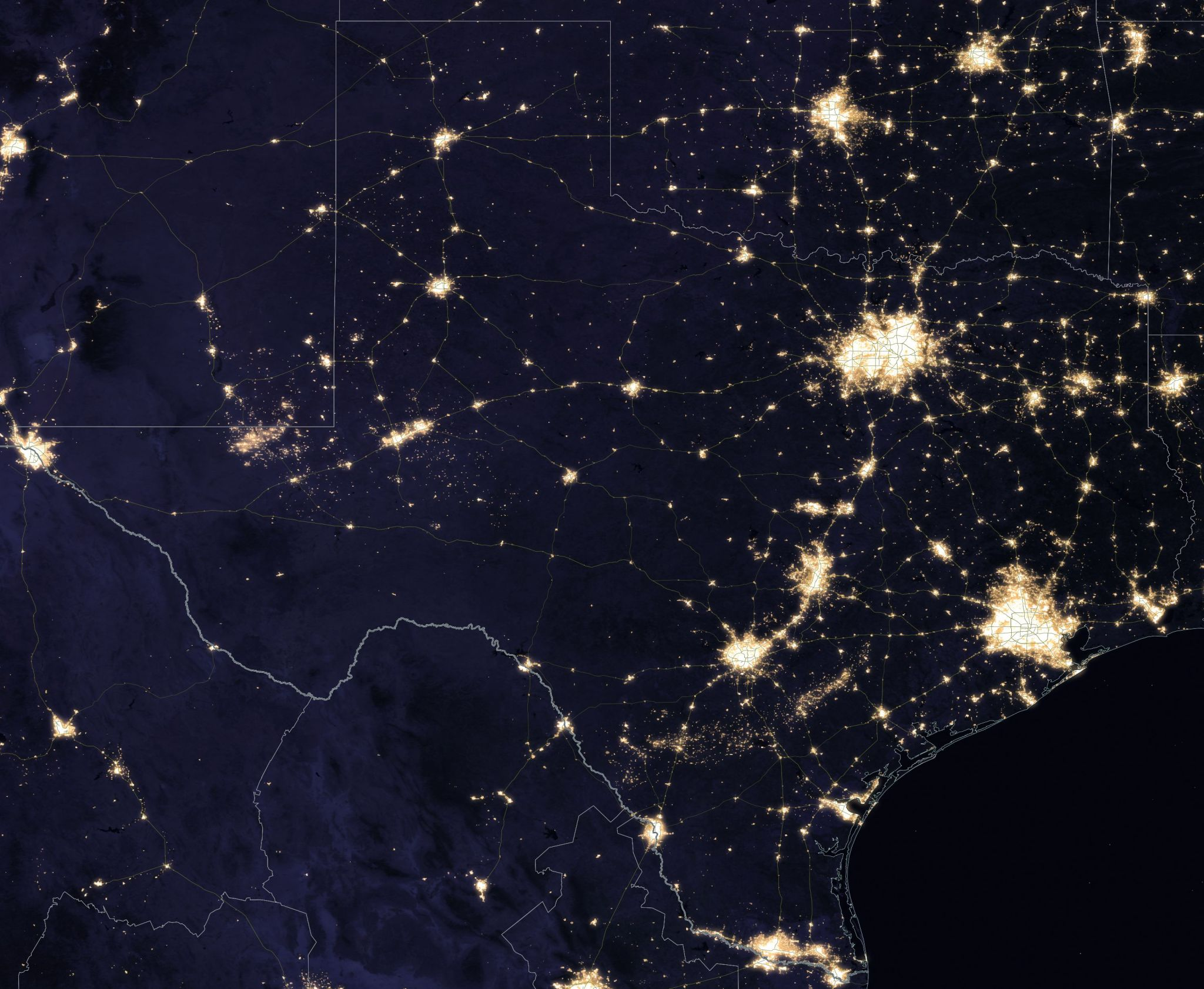 New Nasa Images Show Texas At Night Clearer Than Ever Houston