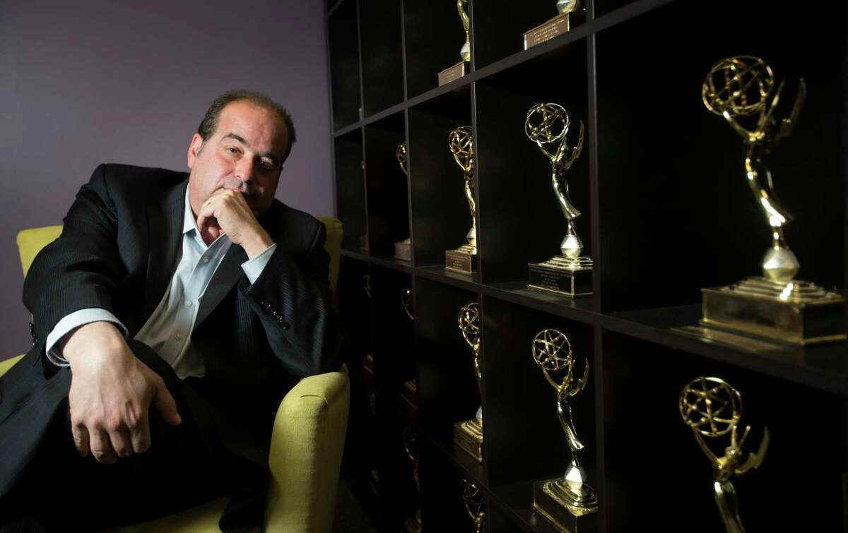 Former KTRK reporter Wayne Dolcefino sits near his Emmy awards that he received for investigative reporting at his office, Wednesday, Oct. 21, 2015, in Houston. Dolcefino reported a 1991 story that many said cost state Rep. Sylvester Turner the mayor's race. (Cody Duty / Houston Chronicle)
