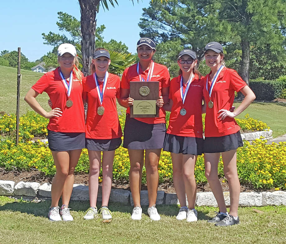 The Cypress Woods High School girls' golf team clinched the District 17-6A championship, held April 5-6 at Cypress Lakes Golf Club. Pictured, from left, are Allie Nutt, Reese Winn, Gurleen Kaur, Halle Chesnutt and Katie Vestal. Photo: CFISD Communications