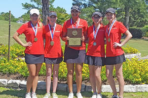The Cypress Woods High School girls' golf team clinched the District 17-6A championship, held April 5-6 at Cypress Lakes Golf Club. Pictured, from left, are Allie Nutt, Reese Winn, Gurleen Kaur, Halle Chesnutt and Katie Vestal.
