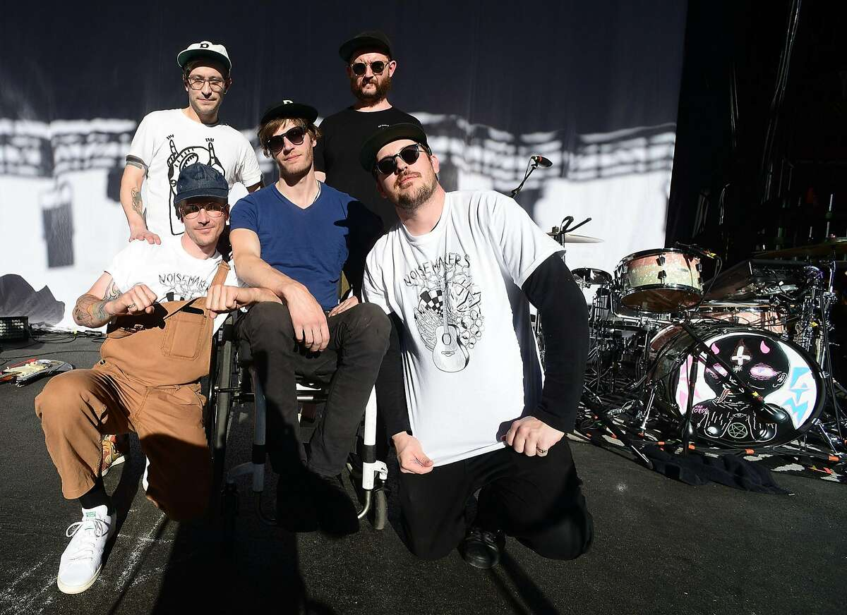 John Baldwin Gourley, Kyle O'Quin, Eric Howk, Jason Sechrist and Zachary Scott Carothers of the Portugal. The Man pose after the soundcheck at the Jannus Live on April 8, 2017 in Saint Petersburg, Florida.