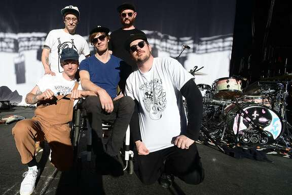 SAINT PETERSBURG, FL - APRIL 08:  John Baldwin Gourley,  Kyle O'Quin, Eric Howk, Jason Sechrist and Zachary Scott Carothers of the Portugal. The Man  pose after the soundcheck at the Jannus Live on April 8, 2017 in Saint Petersburg, Florida.  (Photo by Gerardo Mora/Getty Images for Atlantic Records)