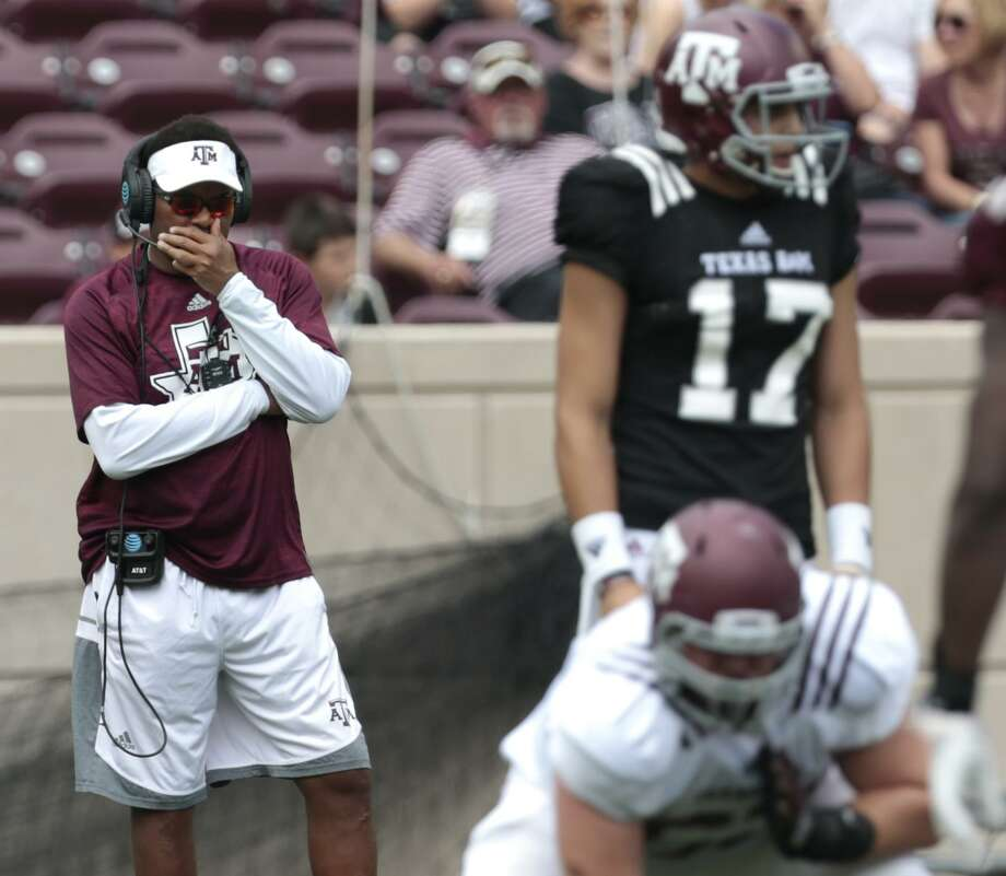 Texas A&M coach Kevin Sumlin watches his offense line up for a play during the spring game at Kyle Field on April 8, 2017, in College Station. Photo: Brett Coomer /Houston Chronicle / © 2017 Houston Chronicle