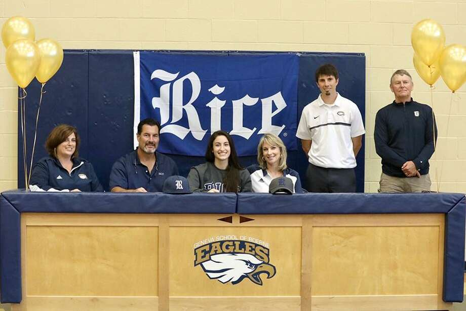 Boerne Geneva senior Julie Perez (third from left) signs a track and field letter of intent with Rice University to compete in discus. She was joined at the signing by (from left) coach Jill Daniels, David Perez, Amy Perez, Geneva athletic director Eric Boerboom and coach Dean Herbort. Photo: Courtesy Photo /Pam Akin