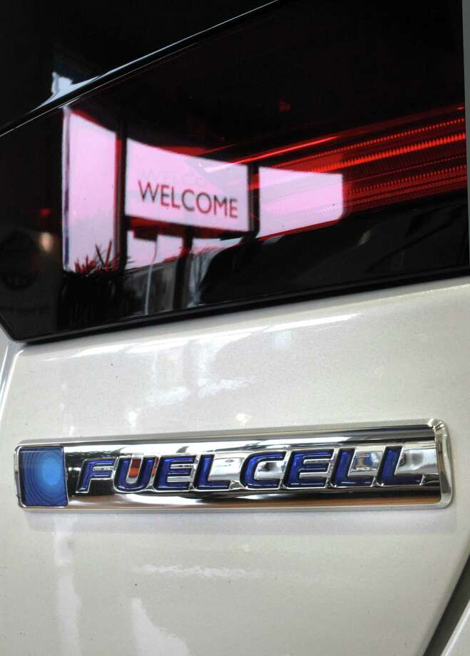 The fuel cell logo on the rear of the vehicle on the first of its kind hydrogen fuel-cell cars the Honda Clarity, at Dublin Honda on Monday Feb. 6, 2017, in Dublin, Ca. Photo: Michael Macor / The Chronicle / ONLINE_YES