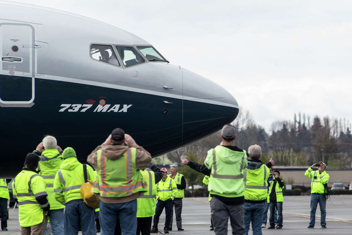 A Boeing 737 Max 9 taxis before its first test flight, out of Renton on Thursday, April 13, 2017.