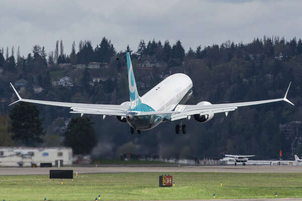A Boeing 737 Max 9 takes off for its first test flight, out of Renton on Thursday, April 13, 2017.