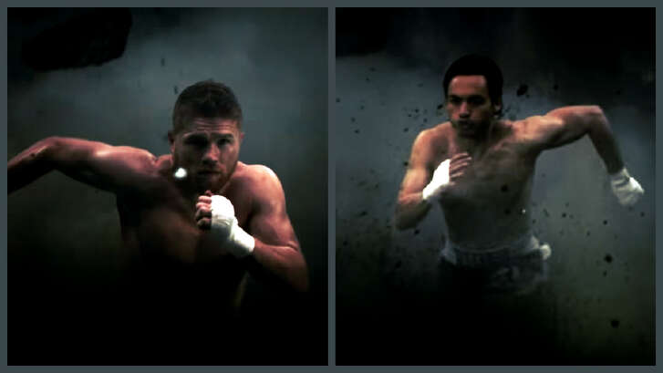 Collagecreated from advertisement clip for  Canelo vs. Ch  á  vez, Jr. boxing match in Las Vegas  on   May 6, 2017 at the    T-Mobile Arena    in Las Vegas.The ad shows   Canelo Álvarez, left, and   Julio César ChávezJr. charging against the Donald Trump's wall.