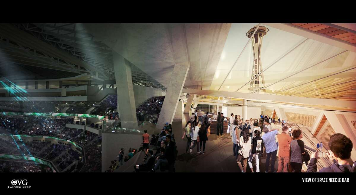 Renderings from Oak View Group show a renovated KeyArena as part of the company's proposal to Seattle's Office of Economic Development.