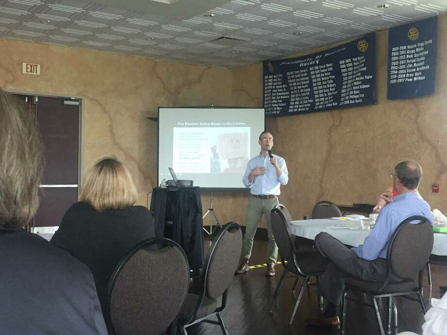 Humble Rotary hosted Michael Bell community engagement manager for Rise against Hunger. Photo: Courtesy Photo