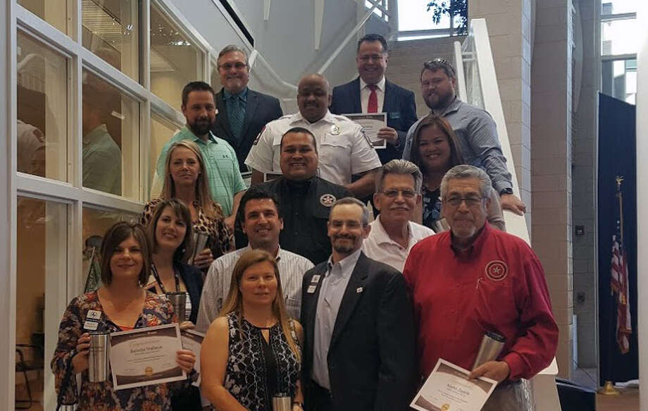 The graduating class of the 2017 Greater East Montgomery County Chamber Discovery Leadership class are celebrated during the GEMC Chamber luncheon Wednesday, April 5 at the EMCID complex in New Caney. Photo: Melanie Feuk