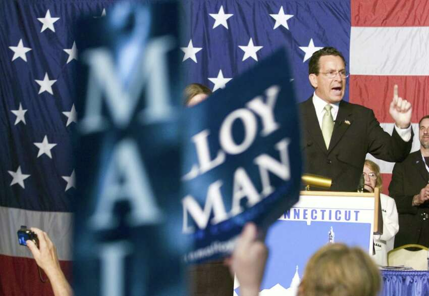 Former Stamford Mayor Dannel Malloy accepts the Democratic nomination for Governor at the 2010 State Democratic Convention at the Connecticut Expo in Hartford, Conn. on Saturday May 22, 2010.