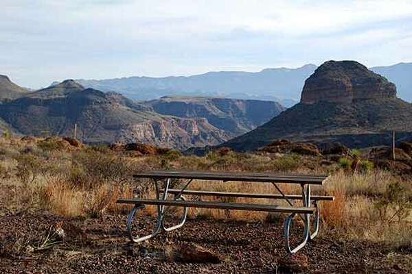 """Big Bend Ranch Sate Park, Guale 2 Where: Presidio Cost: $8/nightThe four-wheel drive road leads to a site atop a bluff with """"spectacular views,"""" surrounded by mountains, said park superintendent Karl Flocke."""