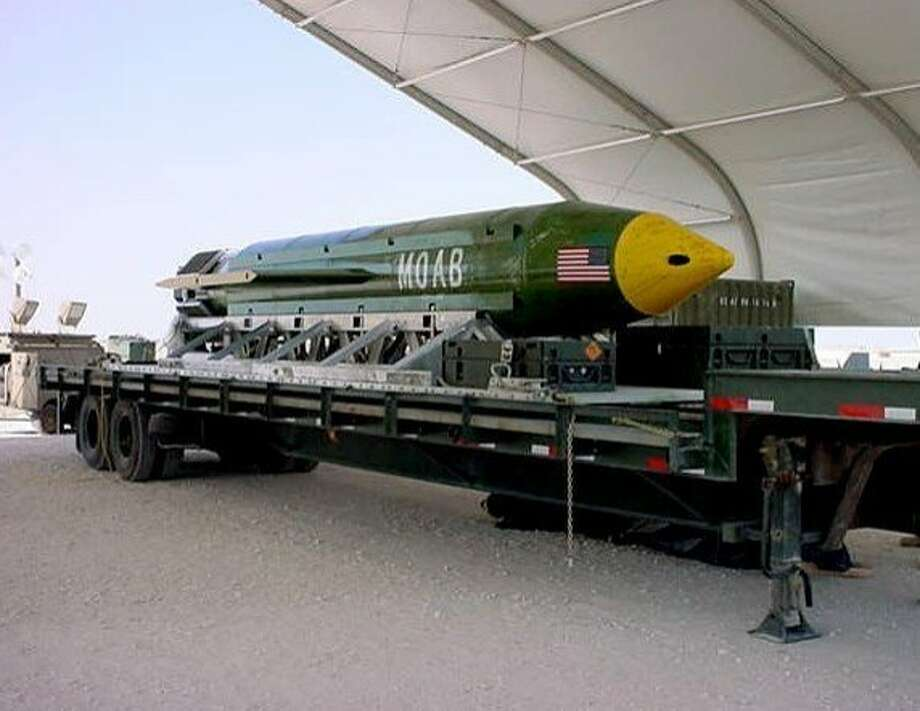 The GBU-43B, or massive ordnance air blast weapon, unleashes 11 tons of explosives. Photo: Associated Press