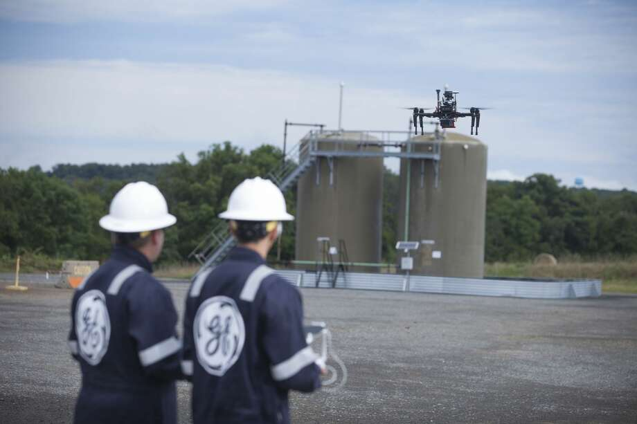 Among the research being done at GE's new Oil & Gas Technology Center in Oklahoma City is development of its Raven drone, used to detect emissions and help operators reduce their environmental impact and improve productivity. Photo: Courtesy Of GE