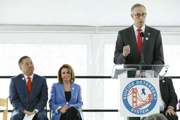 Congressman Jared Huffman during a ceremony at the Golden Gate Bridge Welcome Center Plaza on Thursday, April 13, 2017, in San Francisco, Calif. The ceremony commemorated the beginning of the Golden Gate Bridge suicide deterrent system construction project.