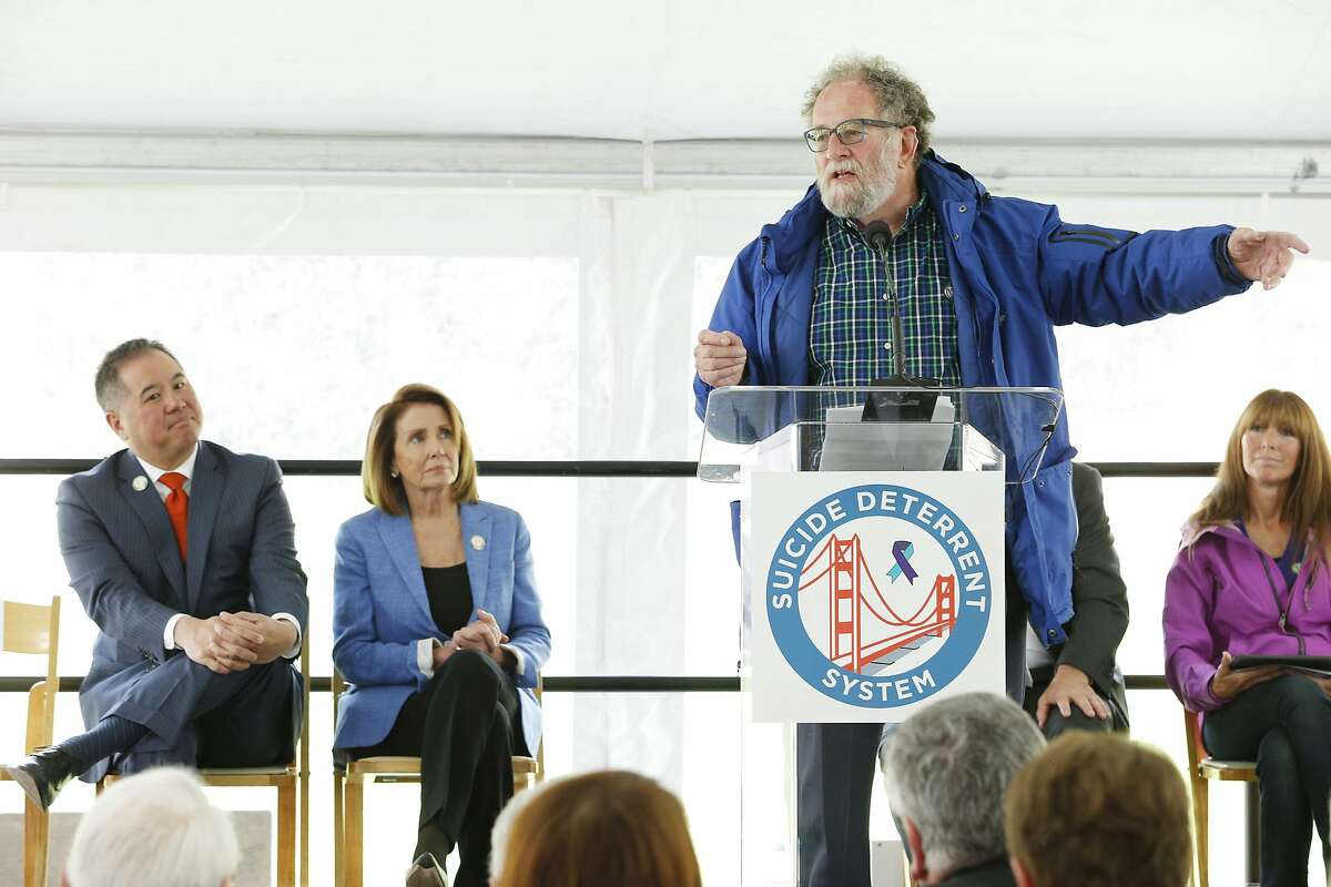 Metropolitan Transportation Commission chair Jake Mackenzie during a ceremony at the Golden Gate Bridge Welcome Center Plaza on Thursday, April 13, 2017, in San Francisco, Calif. The ceremony commemorated the beginning of the Golden Gate Bridge suicide deterrent system construction project.