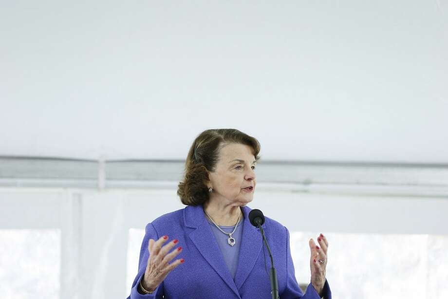 Sen. Dianne Feinstein during a ceremony at the Golden Gate Bridge plaza Thursday commemorating the beginning of an anti-suicide construction project. Photo: Santiago Mejia, The Chronicle