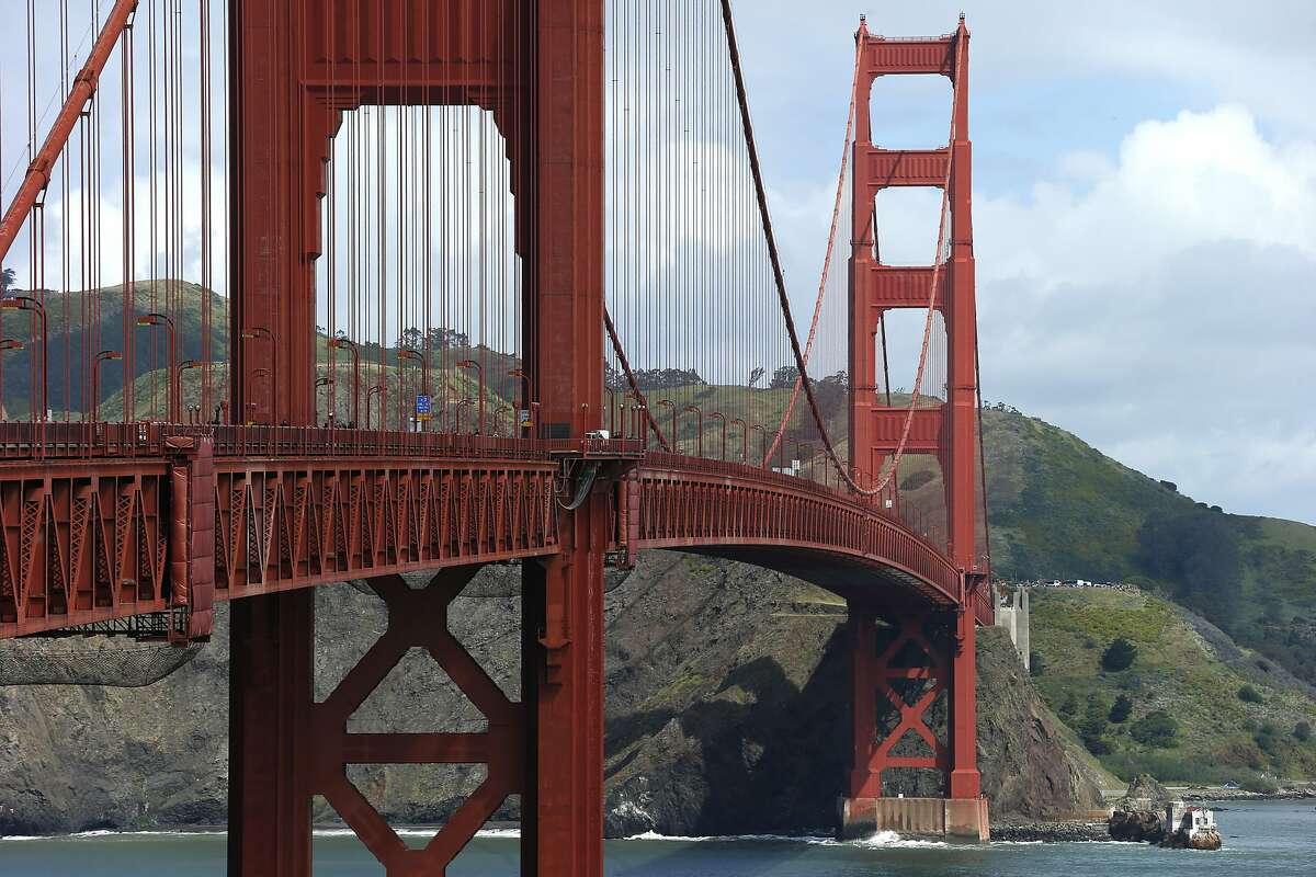The Golden Gate Bridge on Thursday, April 13, 2017, in San Francisco, Calif. A ceremony earlier commemorated the beginning of the Golden Gate Bridge suicide deterrent system construction project.