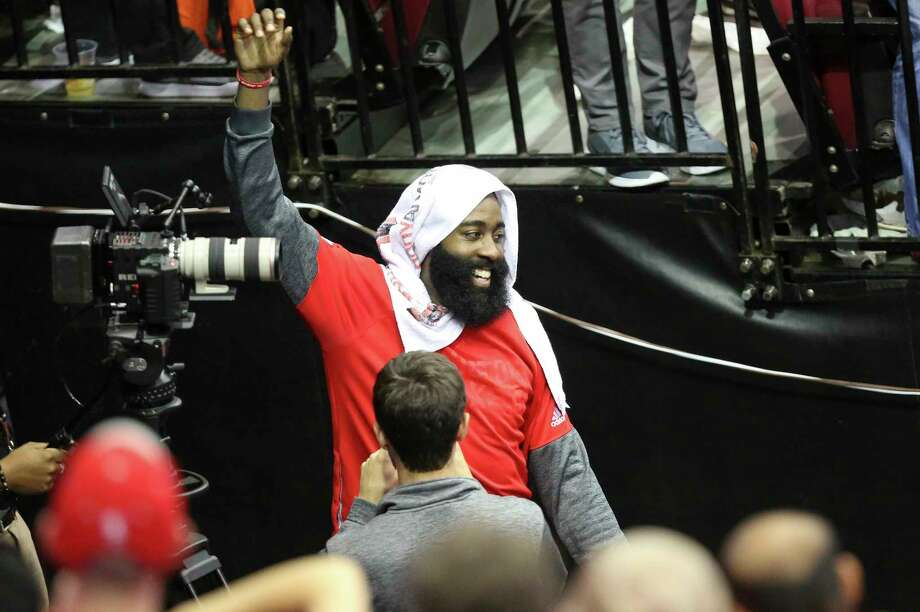 James Harden waves at fans after the Rockets defeated Minnesota Timberwolves at Toyota Center Wednesday, April 12, 2017, in Houston. ( Yi-Chin Lee / Houston Chronicle ) Photo: Yi-Chin Lee, Staff / © 2017  Houston Chronicle