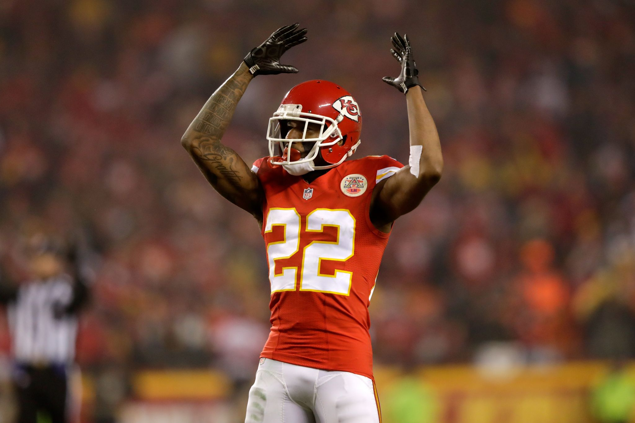 Oakland native Chiefs CB Marcus Peters sits during national