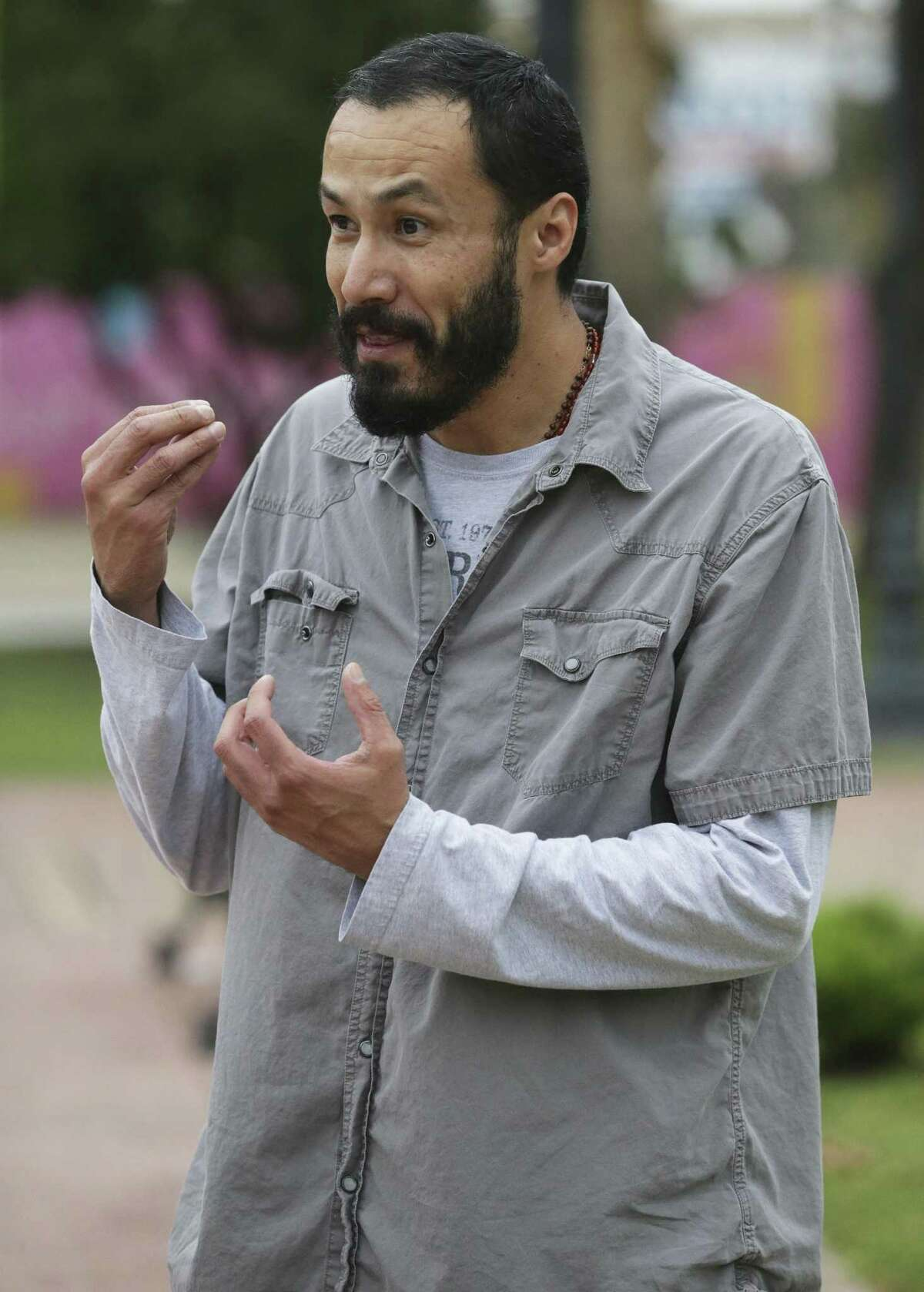 Luis Amaro plays Jesus as actors in the re-enactment of the Passion of Christ on Good Friday rehearse on April 11, 2017 in Milam Park.