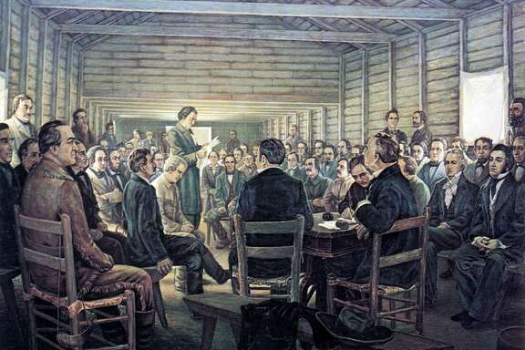 """The Reading of the Texas Declaration of Independence,"" by Charles and Fanny Normann, is part of the collection of the Joe Fultz estate in Navasota. Photo is courtesy of the Star of the Republic Museum at Washington on the Brazos State Historic Site."