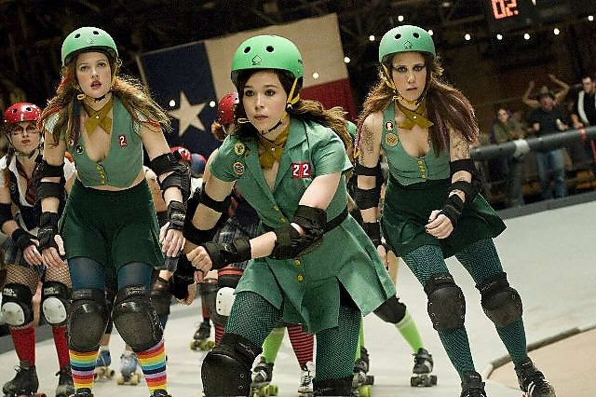 """Drew Barrymore (left) and Ellen Page (center) in """"Whip It."""""""
