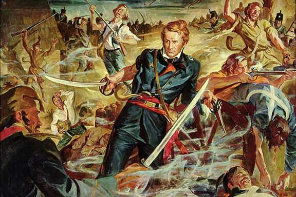 This image of Alamo commander Lt. Col. William Barret Travis is from a 1953 painting of by Ruth Conerly that was displayed in the Alamo's Long Barrack.