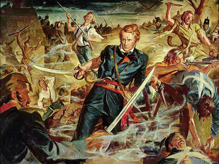 This image of Alamo commander Lt. Col. William Barret Travis is from a 1953 painting of by Ruth Conerly that was displayed in the Alamo's Long Barrack. Photo: Courtesy The Alamo