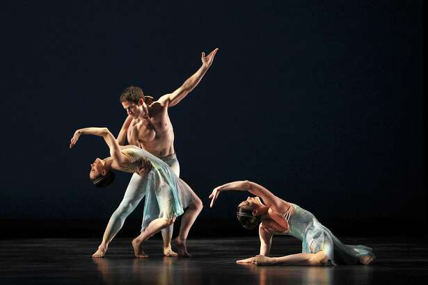 "Eran Brugge, Robert Kleinendorst and Laura Halzack of the Paul Taylor Dance Company in  Taylor's ""Airs."" The company runs through Sunday, April 30, at Yerba Buena Center for the Arts Theater, San Francisco.   Photo: Paul B. Goode"