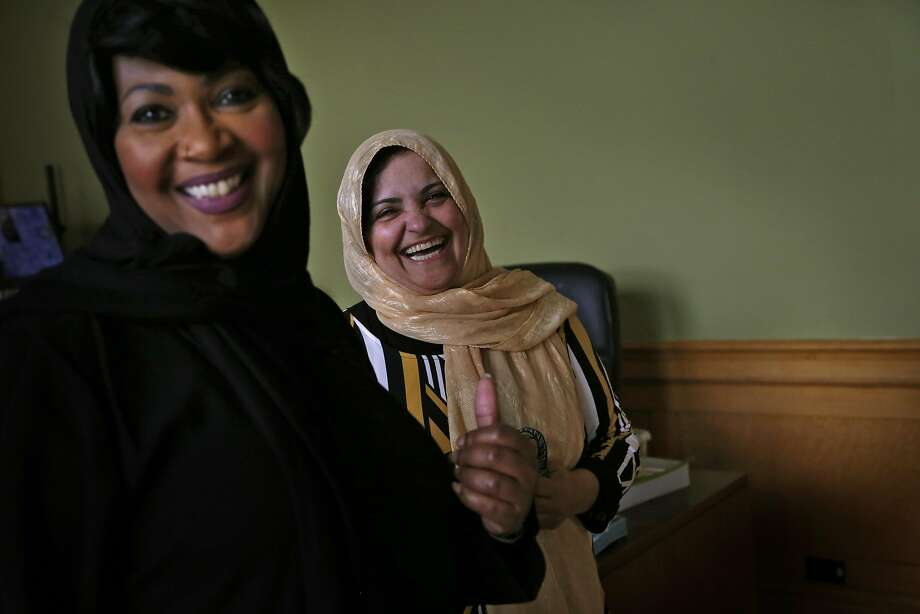 Keeble (left), with Azita Sayyah at the Islamic center, wants to change the tradition of separating men from women in the mosque. Photo: Preston Gannaway, Special To The Chronicle