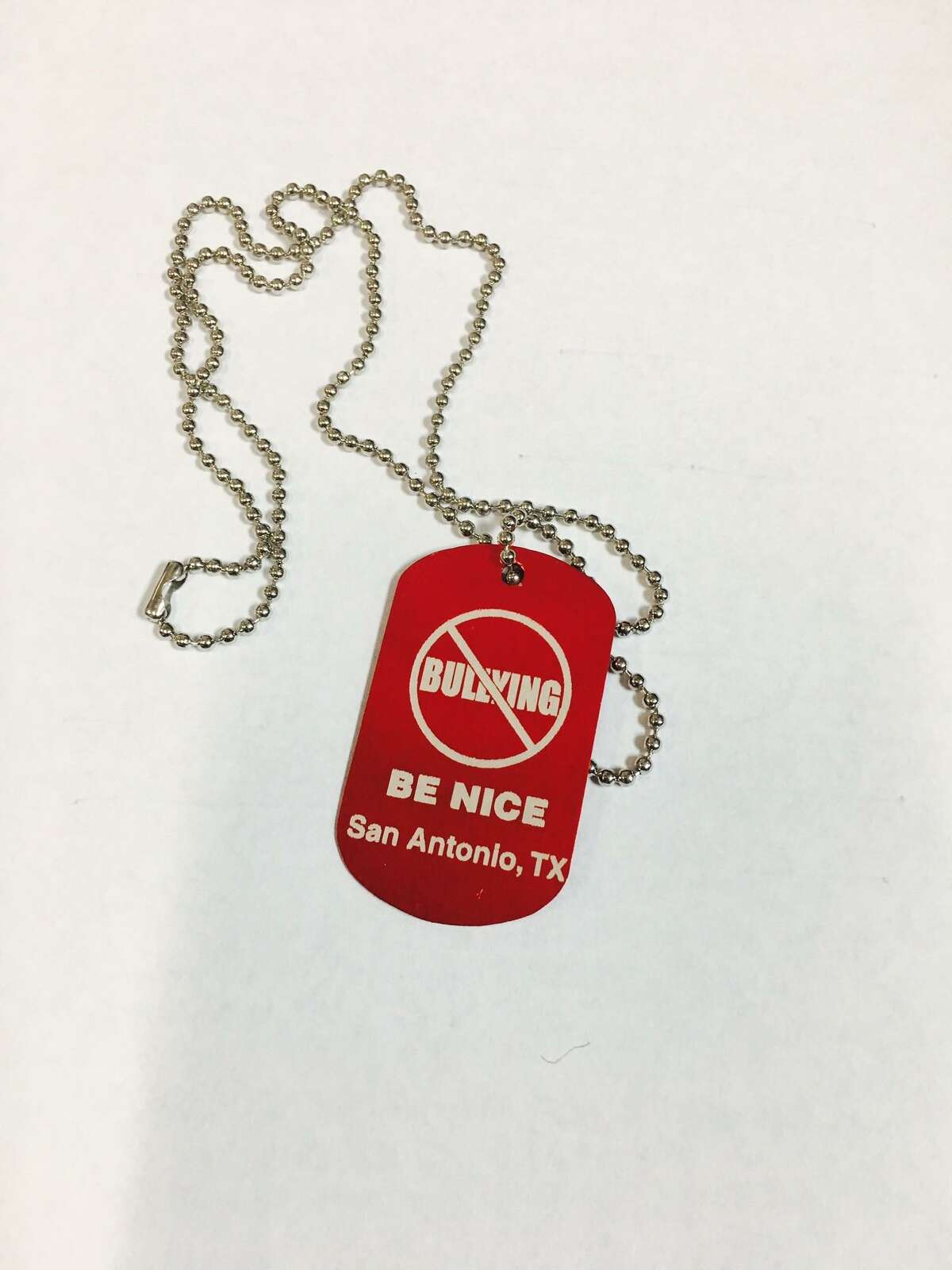 Epi Quiroga's SABullyFree Campaign dog tag. He says 10,000 children and adults in San Antonio have pledged to stop bullying as part of his pep rallies, events and speeches at schools and other events.