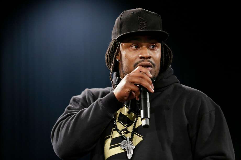 Marshawn Lynch, a former NFL football running back with the Seattle Seahawks, speaks Thursday, May 5, 2016, at a job fair in Seattle sponsored by the 100,000 Opportunities Initiative, an organization backed by Starbucks and other companies that seeks to increase employment and education opportunities for youth aged 16-24. The Seahawks announced Thursday that Lynch has been placed on the reserve/retired list. (AP Photo/Ted S. Warren) Photo: Ted S. Warren / Associated Press