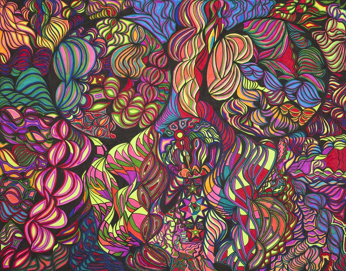 """Dan John Michiels' """"Untitled"""" is part of """"Spectrum,"""" an exhibiton paying homage to San Franciso's heritage of psychedelic art and music of the 1960s, opening June 24. Through Aug. 11 at Creativity Explored, 3245 16th St., San Francisco. (415) 863-2108, www.creativityexplored.org. Reception: 7-9 p.m. June 25 with music and art sale."""