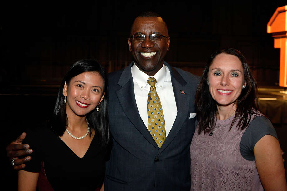 Kristina Mendoza, Lonnie Howard and Michelle DeMoss at the Creative Corrections Education Foundation's scholarship banquet at the Beaumont Civic Center on Thursday.  Photo taken Thursday 4/13/17 Ryan Pelham/The Enterprise Photo: Ryan Pelham / ©2017 The Beaumont Enterprise/Ryan Pelham