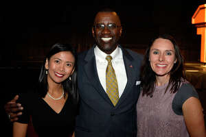 Kristina Mendoza, Lonnie Howard and Michelle DeMoss at the Creative Corrections Education Foundation's scholarship banquet at the Beaumont Civic Center on Thursday.  Photo taken Thursday 4/13/17 Ryan Pelham/The Enterprise