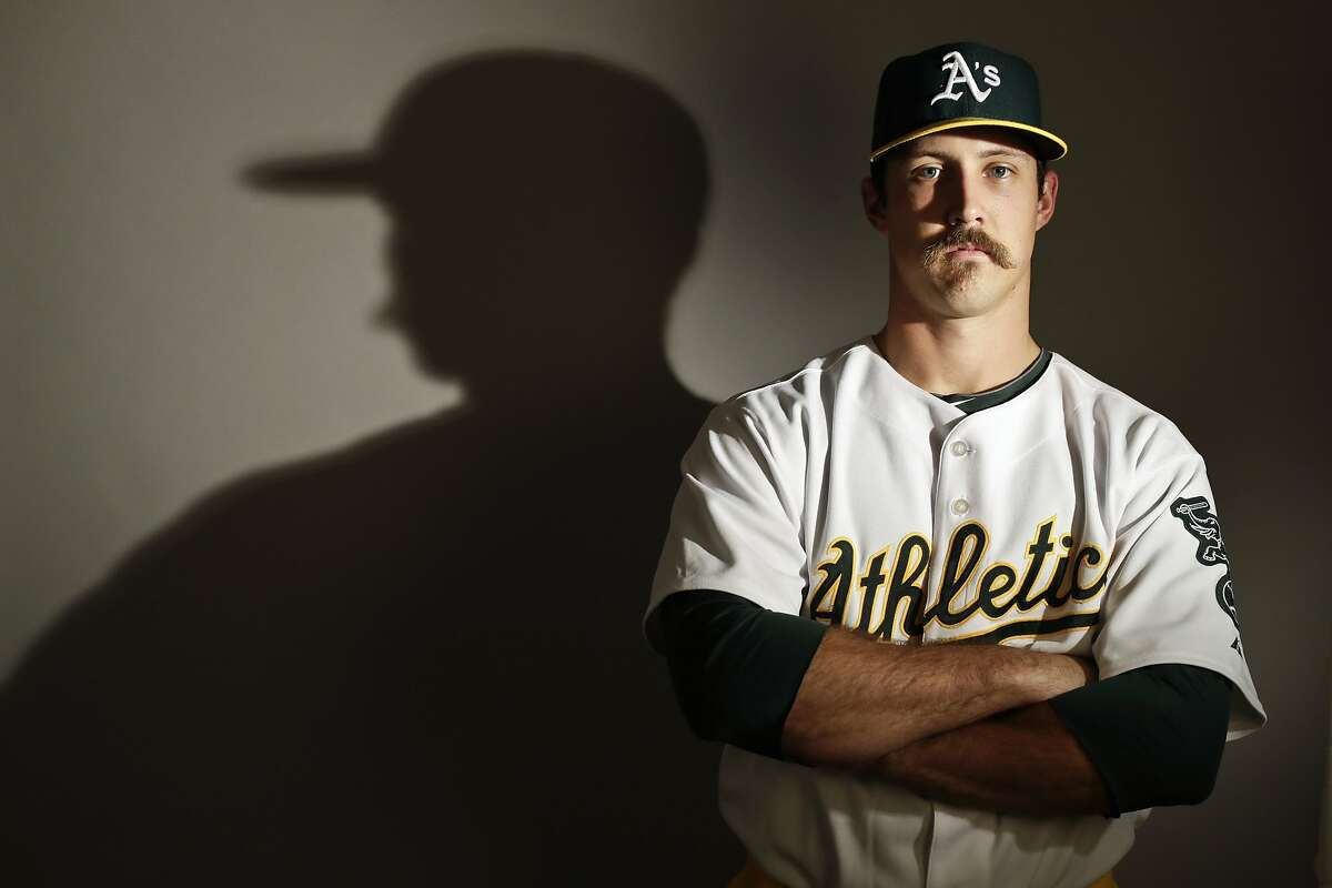 This is a 2017 photo of starting pitcher Daniel Mengden of the Oakland Athletics baseball team poses for a portrait. This image reflects the Athletics active roster as of Wednesday, Feb. 22, 2017, when this image was taken. (AP Photo/Chris Carlson)