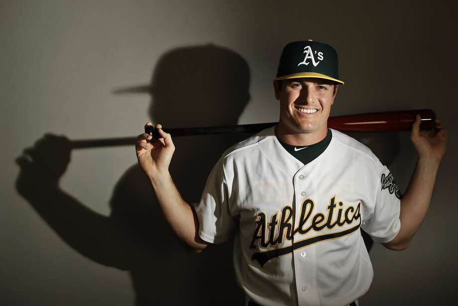 This is a 2017 photo of left fielder Jaycob Brugman of the Oakland Athletics baseball team poses for a portrait. This image reflects the Athletics active roster as of Wednesday, Feb. 22, 2017, when this image was taken. (AP Photo/Chris Carlson) Photo: Chris Carlson, AP