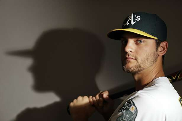 This is a 2017 photo of shortstop Chad Pinder of the Oakland Athletics baseball team poses for a portrait. This image reflects the Athletics active roster as of Wednesday, Feb. 22, 2017, when this image was taken. (AP Photo/Chris Carlson)