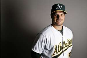 This is a 2017 photo of catcher Josh Phegley of the Oakland Athletics baseball team poses for a portrait. This image reflects the Athletics active roster as of Wednesday, Feb. 22, 2017, when this image was taken. (AP Photo/Chris Carlson)