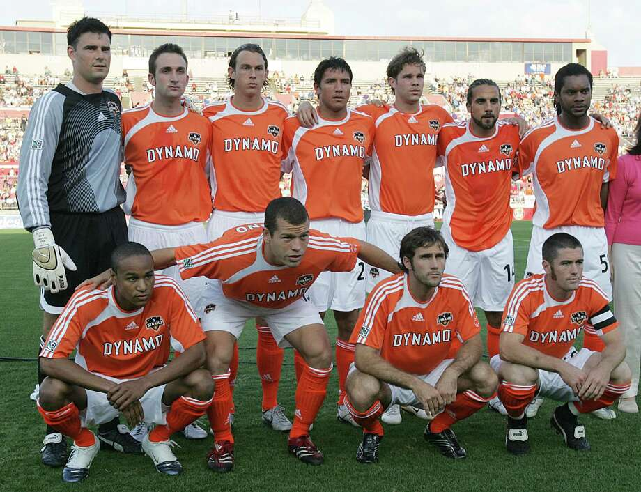 The Houston Dynamo's starters poses for a photograph before the start of Sunday's MLS game against the Colorado Rapids at the University of Houston's Robertson Stadium April 2,2006 in Houston, Texas. 