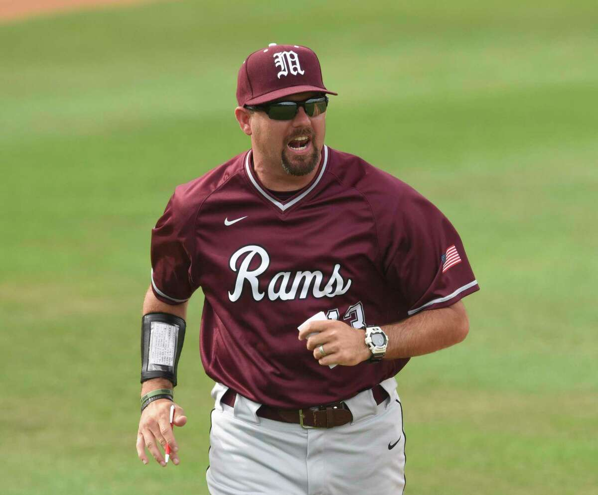 """Former Marshall coach Dennis Schlueter is now the skipper at Churchill, which beat Clark 9-5 on Friday night. """"I was proud of our guys for having good at-bats early,"""" he said."""