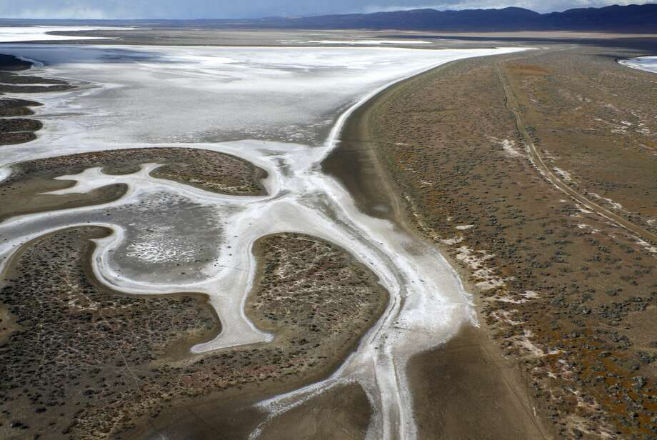 Carrizo Plain National Monument, California. Aerial of water evaporating in Soda Lake with Temblor Range behind. Photo: Michael Layefsky/Getty Images