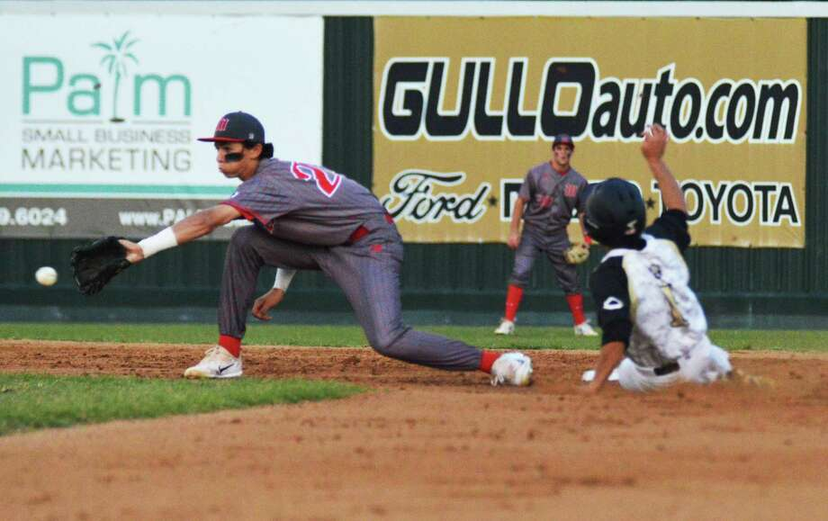 The Woodlands shortstop Drew Romo receives the throw from the catcher on a  stolen base attempt by Conroe on Thursday at Conroe High School. Photo: Keith MacPherson, Keith MacPherson;