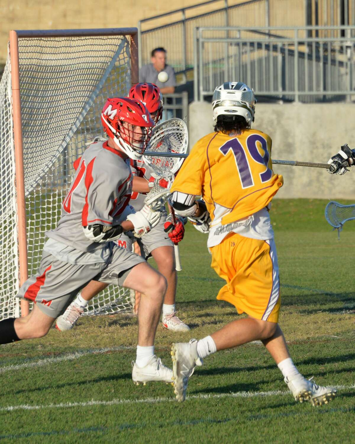 Jacob Magelssen (19) of Kinkaid scores the final goal in the fourth quarter of a varsity boys lacrosse match between the Memorial Mustangs and the Kinkaid Falcons on Thursday April 13, 2017 at Grob Stadium, Houston, TX.