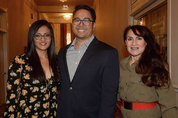 Ana Garcia, Jeremy Fermo, and Magda Villarreal were at the United States Army Field Band of Washington, DC's concert at the Julie Rogers Theatre Thursday. The 65-member Concert Band and 29-member Soldiers' Chorus perform a range of musical classics ranging from orchestral pieces to opera, and Sousa marches to jazz and Broadway musicals. Photo taken Thursday, April 13, 2017 Kim Brent/The Enterprise