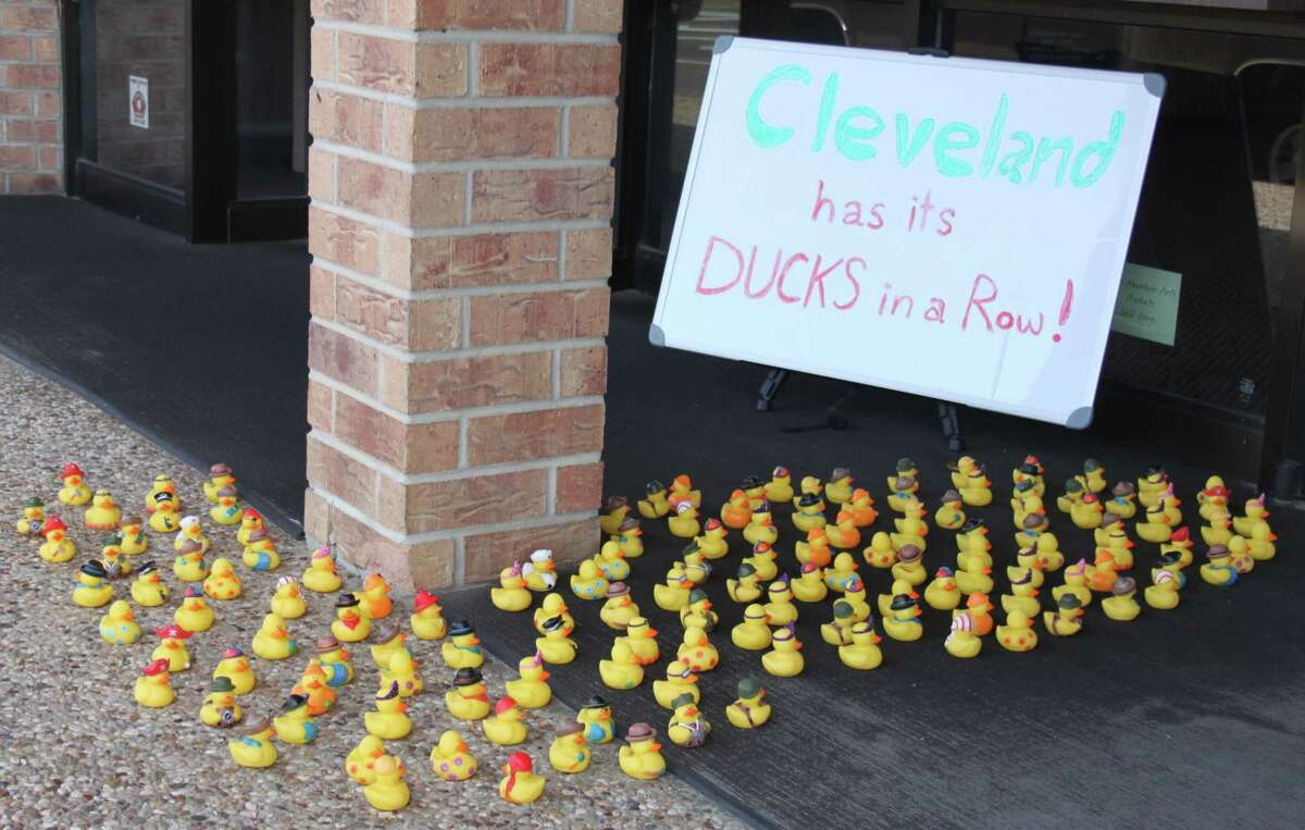 Countless rubber ducks sit outside of Coats Jewelers on Thursday April 13. This is the second appearance of the ducks this month with the first group of ducks placed outside of the Cleveland Hometown Sears store on April 6.