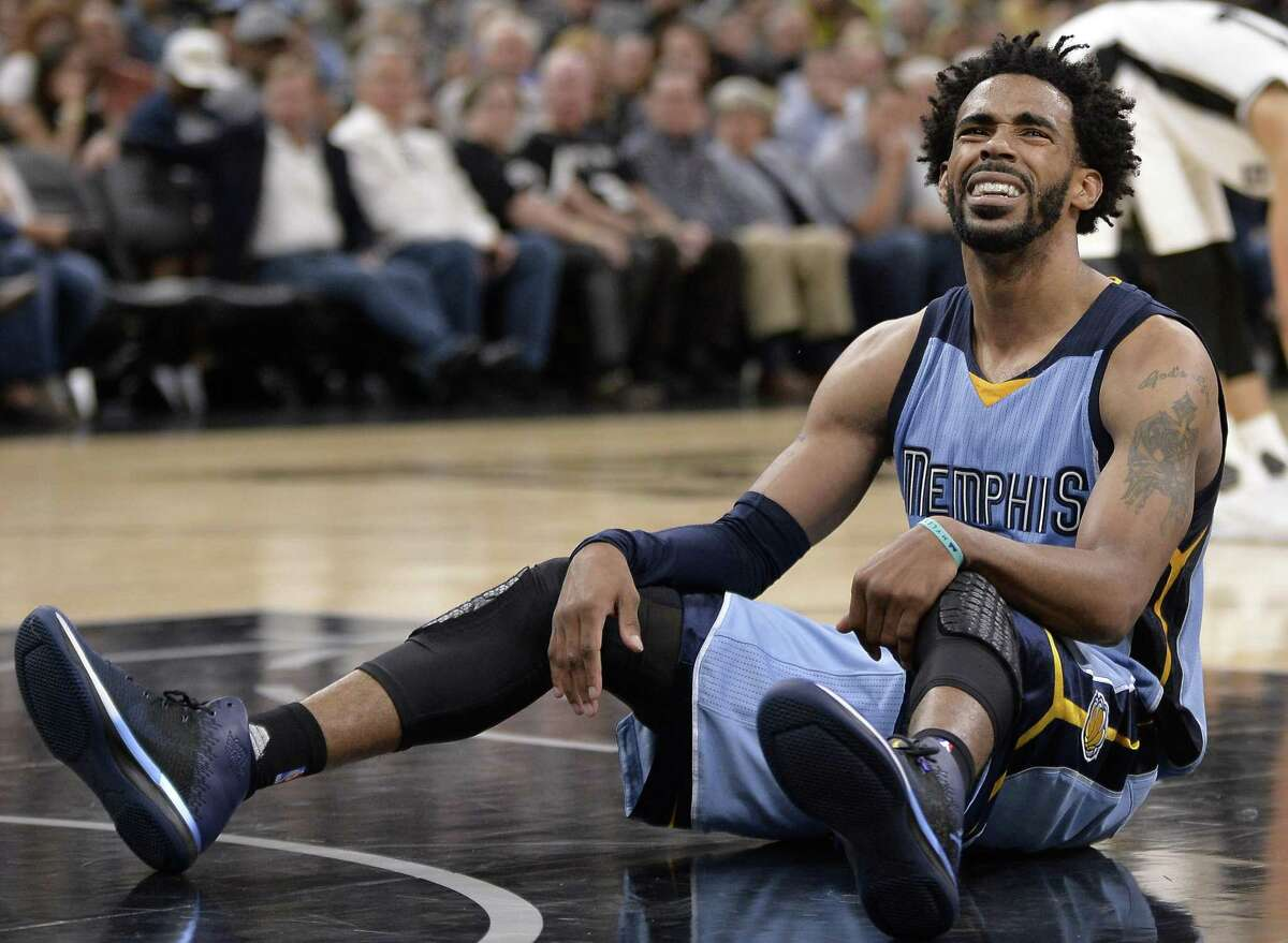 Memphis Grizzlies guard Mike Conley reacts to a call during the second half of against theAntonio Spurs on April 4, 2017, in San Antonio.